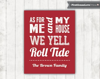 Roll Tide University of Alabama Art Print - Man Cave Sign - Football Fan Gift - Personalized Family Last Name - Wall Art - Crimson Tide