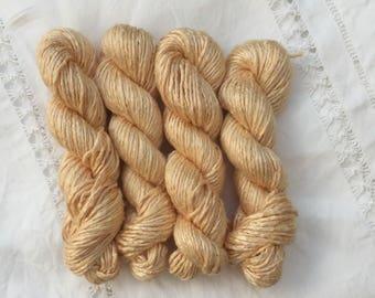 Mini skein 20g Hand Dyed Worsted weight Silk Yarn - Light Orange