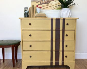 Rustic Yellow Dresser Vintage Chest of Drawers Antique