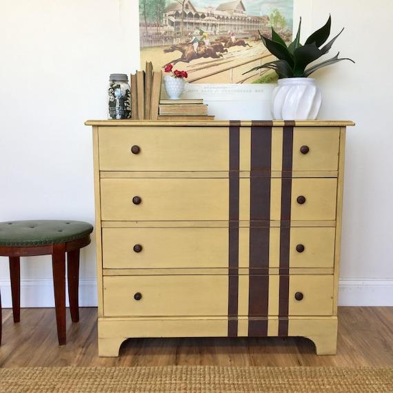 Yellow Dresser - Distressed Furniture - Rustic Chest of Drawers - 4 Drawer Dresser - Nursery Furniture - Farmhouse Dresser - Vintage Hip