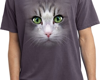 Men's Funny Shirt Big Cat Face Pigment Dyed Tee T-Shirt 18218D1-PC099