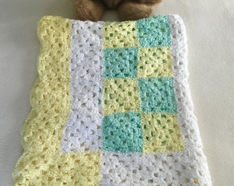 "Hand-crocheted, extra long, 3-color, granny squares baby blanket, 41"" x 29"""