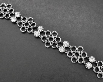 Japanese Lace Chainmaille Flower Bracelet - Stainless Steel & Glass Crystal Rhinestones