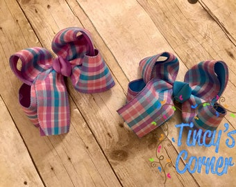 Pink, Lavender, and Turquoise Blue Plaid Hair Bow Large