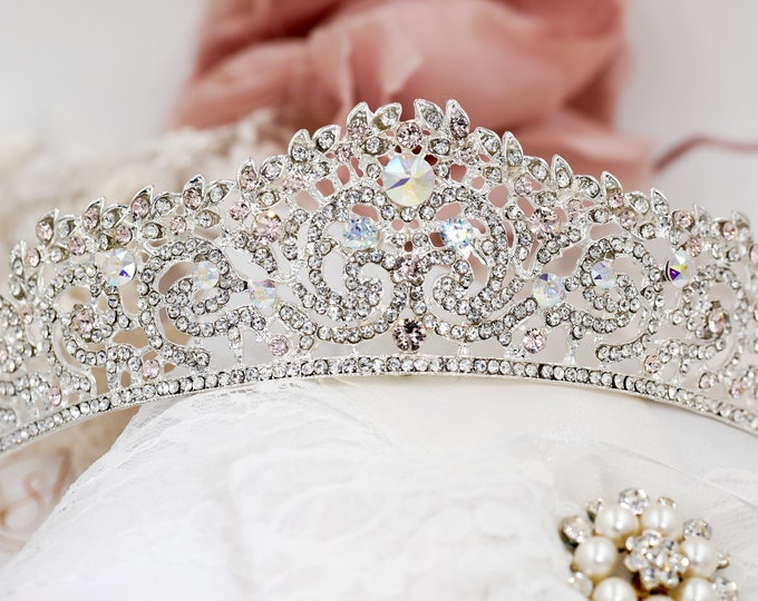 Bridal Crystal tiara, swarovski elements, silver, wedding crown, sweet 16, quinceanera, Bridal, prom, hair accessory, pageant headdress,