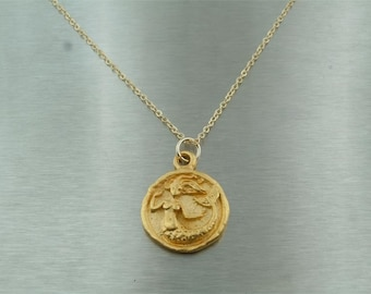 Mermaid Gold Pendant 18 karat yellow gold