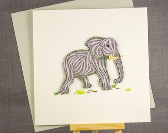 3D Handmade Card  Quilling Card Quilled Elephant Animal Card Paper Quilling