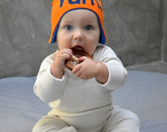 Yum!- Upcycled Aviator Hat / Bomber Hat, Reversible Baby hat