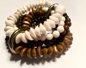 Vintage - Multi-Strand Beaded Bracelet - Brown, Bronze, White - Metal Rings