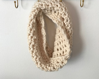 Cream and gold sparkle cowl