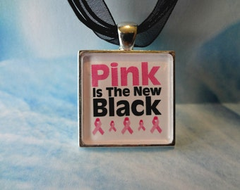 Pink is the New Black Cancer Awareness Square Tile Pendant with matching ribbon and cord neckalce T1332