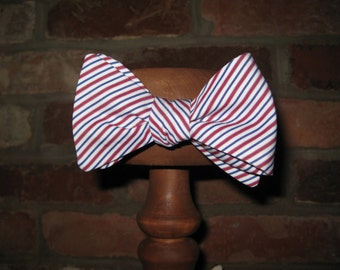 Red, White and Blue Stripe Cotton Mens Self Tie Bow Tie