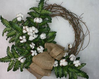 Greenery, cotton and burlap wreath