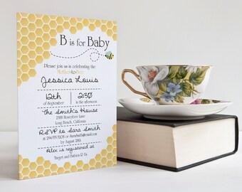 "B is for Baby Bee Invitation || Baby Shower, Birthday Party || Custom Digital Download Printable File || 5""x7"" 