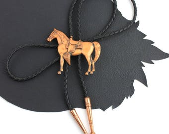 Copper Horse with Saddle Western Bolo Tie