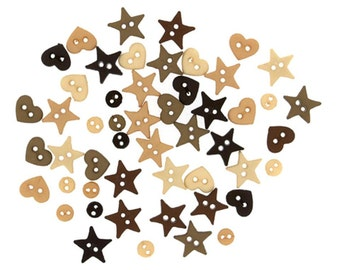 Jesse James Button Micro Mini Shapes Natural Brown Tan Cream Hearts Stars Rounds Doll Size Button Embellishments