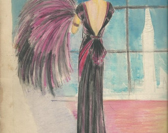 New York City in the 1920's  Vintage Art  At It's Best! ORIGINAL Not A Print Lady with Feathers and  Plumes's Art At It's Best A Must Have!