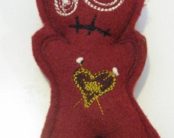 Voodoo Doll Pin Cushion or Pocket Pal - Red GLOW in the dark