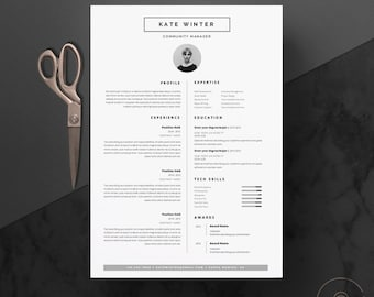"""Minimalist Resume Template & Cover Letter + Icon Set for Microsoft Word 