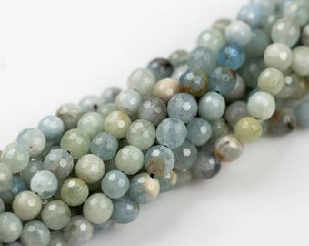 NATURAL aquamarine faceted round beads in full strands. 6mm, 8mm, 10mm, 12mm, 14mm- Full 15.5 Inch Strand- Wholesale Pricing