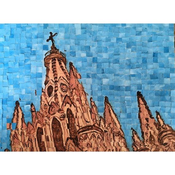 """San Miguel de Allende, Mexico - Parroquia de San Miguel Arcangel - Architectural Art: 12""""x16"""" Original Painting"""