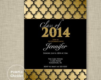 Graduation Party Invitation Gold and Black Quatrefoil Class of 2018 High School Graduation College Grad 5x7 Printable Party Invite JPEG 14