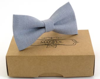 Blue  bow tie, wedding bow tie, linen necktie,  groomsmen necktie,  blue necktie,blue bow tie for men