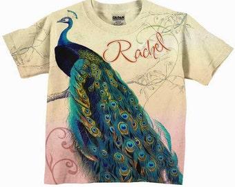 Girls Peacock T-Shirt, Personalized Shirt, Custom Children's Clothing
