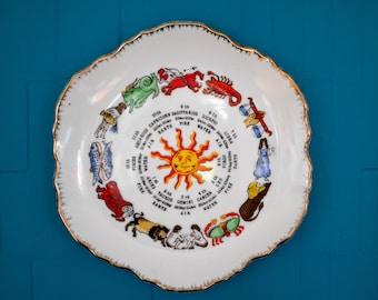 Kitsch Vintage Starsign/Astrology/Element Display Plate - Retro/Vintage