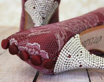 Red Wedding Shoes, Lace Wedding Shoes, Red Wedding, Crystal Heel Bridal Shoes, Bridal Heels, Wedding Shoes, Custom Wedding, Red Wedding