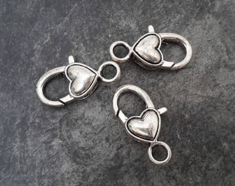 Large heart clasp in silver, 27 x 14 mm