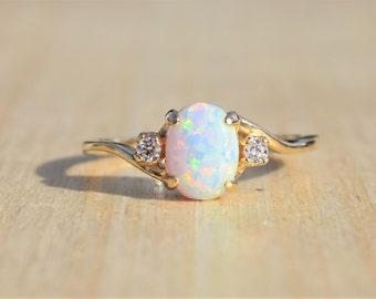 Opal Ring Gold Opal Ring Opal Engagement Ring Opal Bezel