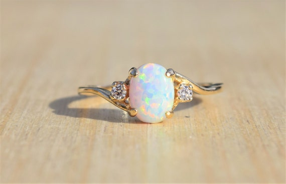 Beautiful Gold Opal Ring White Opal Ring Gold Ring Opal Ring Promise NT28