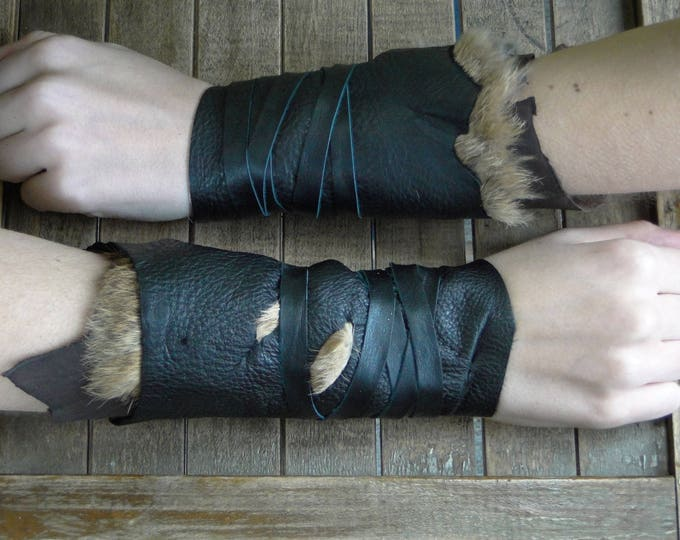 Leather Cuffs - Warrior Viking Tribal Larp Costume Cosplay - Pair #15a