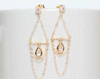 Dainty earrings, bridesmaid earrings, gold bridesmaid gift earrings, wedding earrings,bridal earrings,gold chandelier earrings,hoop earrings