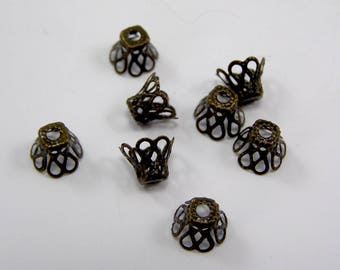 Bead caps cones filigree 8 x 9 mm flower bronze set of 50