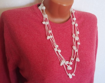 Natural White Quartz Handmade Gemstone Beads Stone