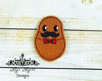 Mr Potato mustache feltie design ITH embroidery design file