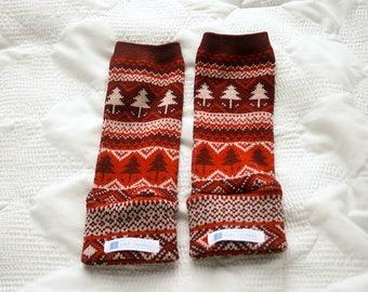 Red & Maroon Pine Tree Baby Leg Warmers | Baby Leggings | Toddler Leggings | Baby Gifts | Leggings | Baby Pants | Gender Neutral | Winter