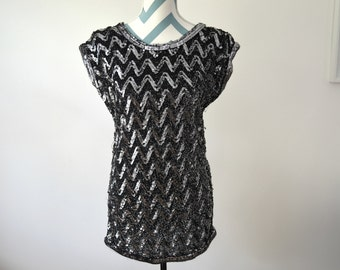 Vintage Sequin Chevron Dress Tunic - Black Silver Zig Zag Embroidered Party Holiday New Years - Small