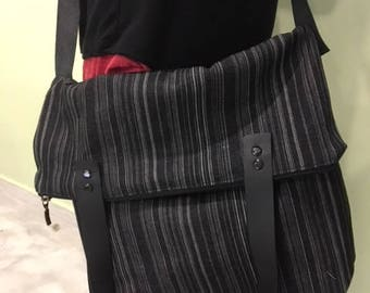 handmade denim messenger / cross body & tote bag with leather details