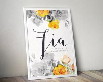 Printable, custom name art, personalised printable, Fia, teenage gift, print art, adoption gift