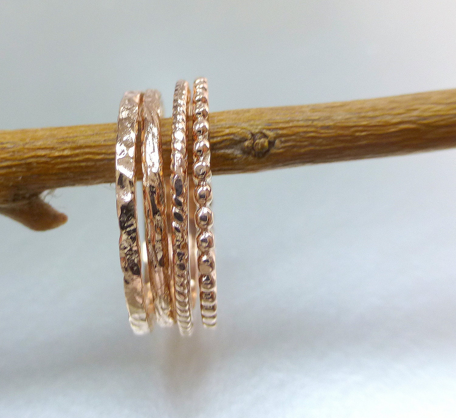 14k rose gold stacking rings Rose gold wedding bands 14k