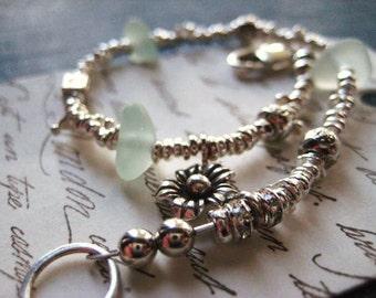Beach Glass Bracelet, fine silver, genuine seaglass, karen hill tribe, sterling silver, aqua sea glass, ocean tumbled, organic nugget