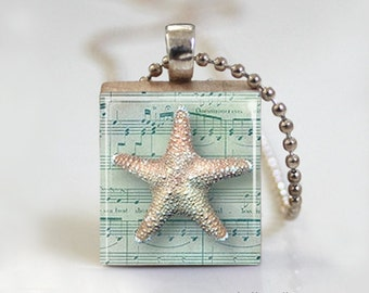 Seashell Vintage Altered Art - Scrabble Tile Pendant - Free Ball Chain Necklace or Key Ring
