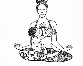Zen Mama. Instant Digital Download of Original Drawing. Breastfeeding Art, Illustration, Motherhood, Yoga, Pen Drawing, Gift for Mum