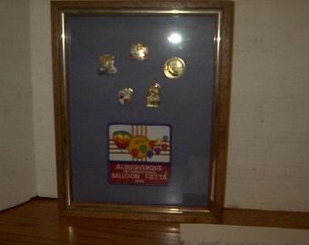Framed 1990 Albuquerque Balloon Fiesta Pin Set