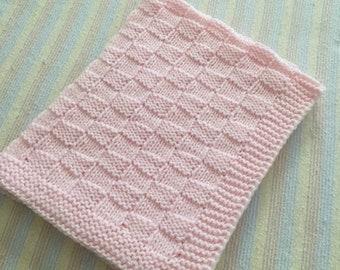 Baby Blanket, Baby Crib Blanket, Pink Baby Blanket, Pink Baby Afghan, Hand Knit Crib Blanket, Handmade Baby Blanket, Hand Knit  Blanket*