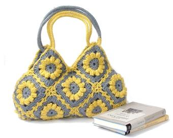 Lemon zest crochet flowers bag eco friendly purse boho shoulder bag hippie purse yellow summer bag bohemian floral tote gray and yellow bag