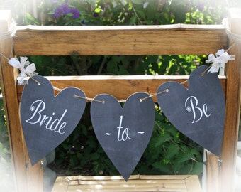 Bridal shower Bride to Be banner | Bride to be chair sign | Chalkboard Bridal shower | choice of ribbon accents